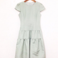 フォクシー フレンチパフ ワンピース ドレス シルク混 緑系 34043☆苦楽園口駅前店☆